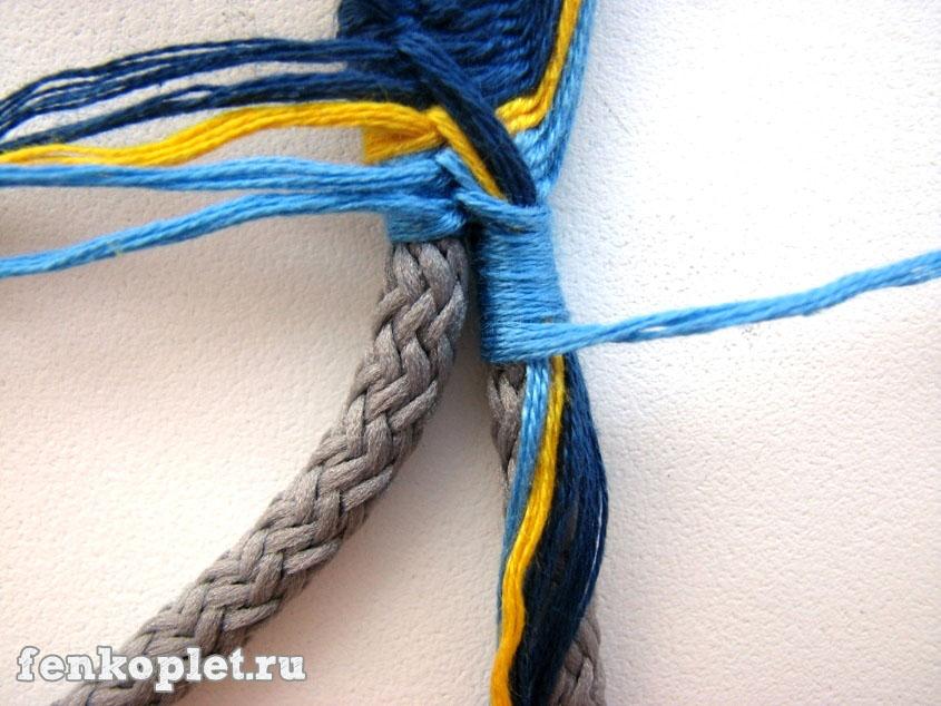прошить шнур с иголкой.