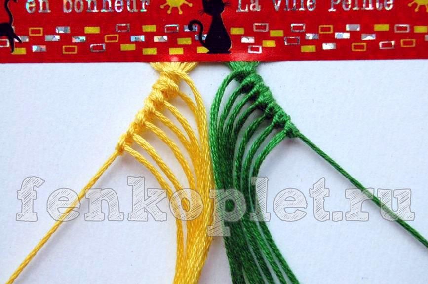 Как начать фенечку конфеткой в косом плетении