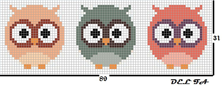 Схема прямого плетения три совёнка Delfa