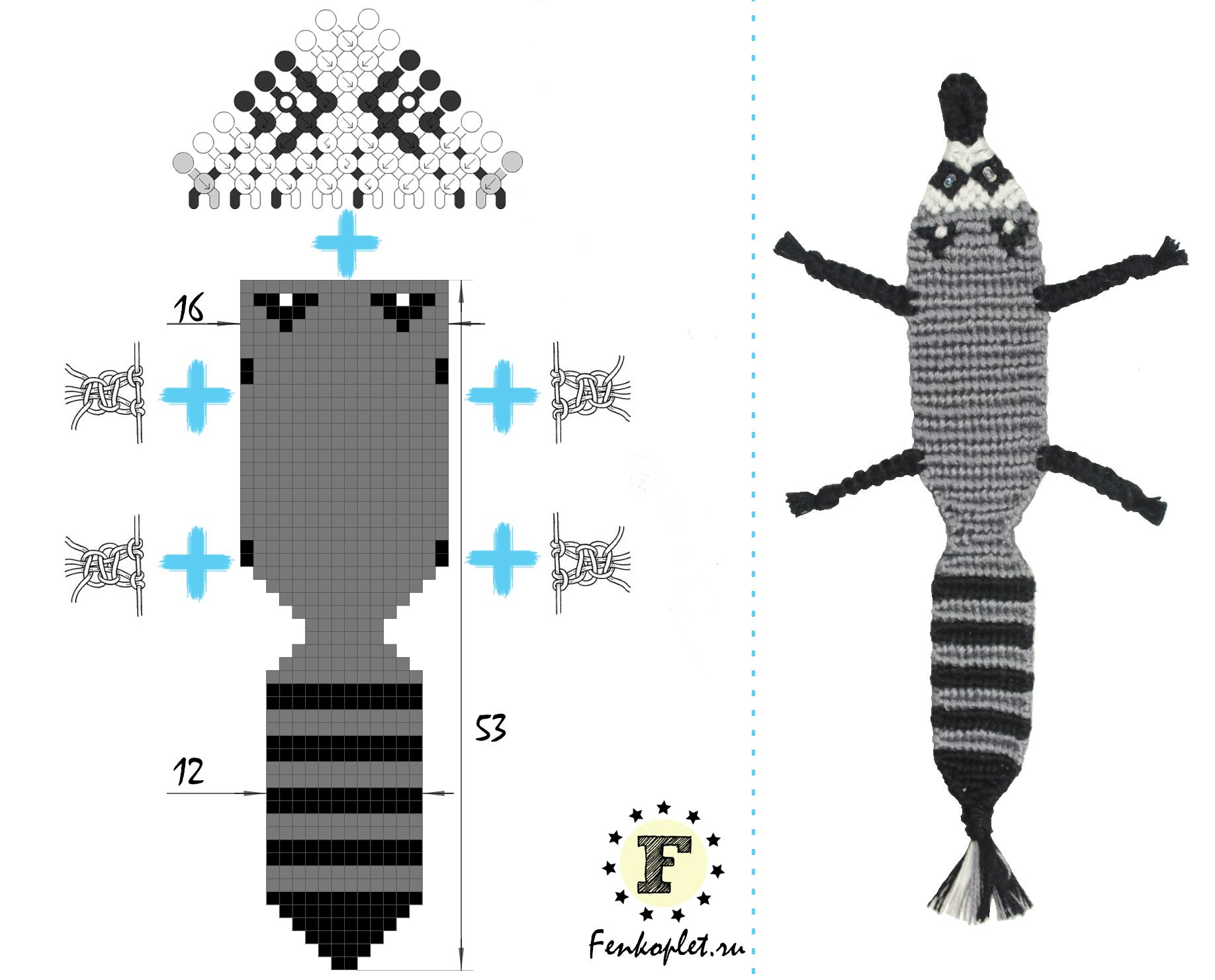 Схемы для брелков прямым плетением