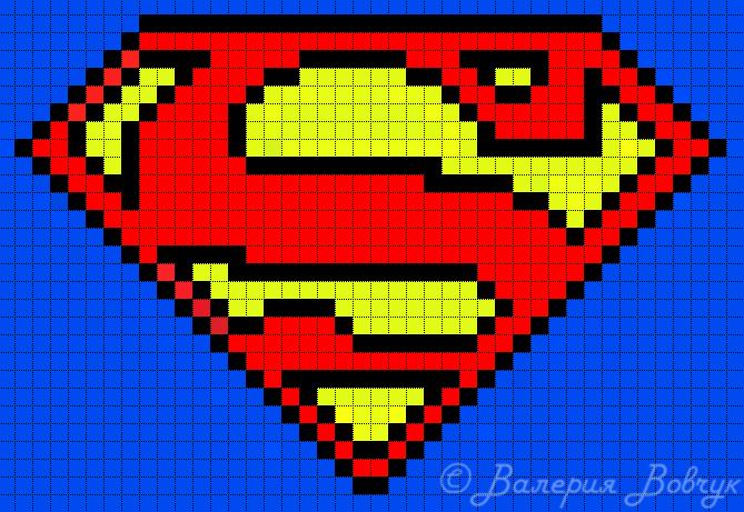 Схема прямого плетения Супермен