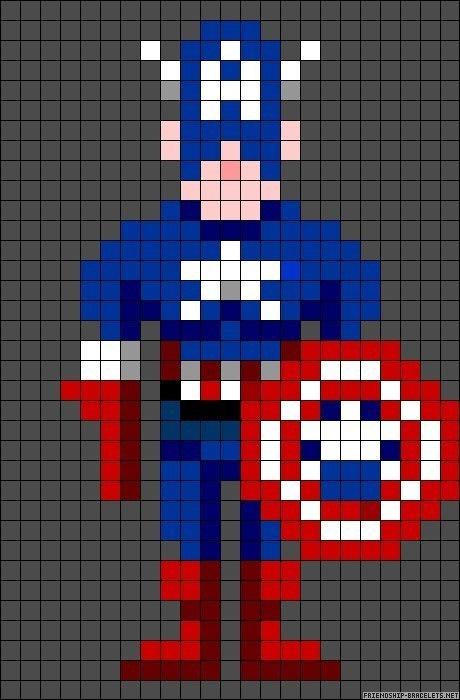 Схема прямого плетения Капитан Америка