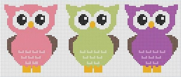 Схемы совы прямого плетения