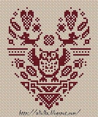 Схемы для вышивки совы