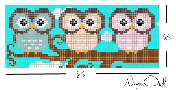 Схема прямого плетения совы на ветке Nyan Owl