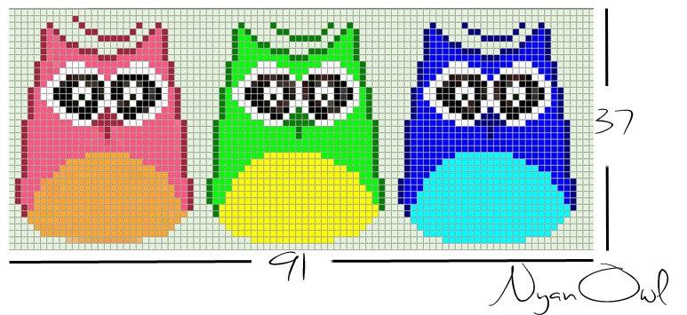 Схема прямого плетения три совы Nyan Owl